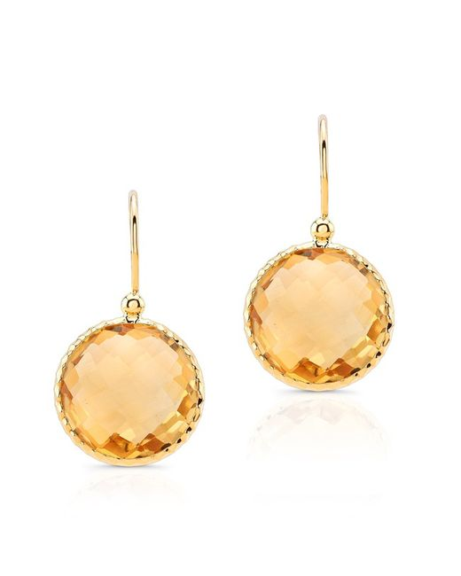 Anne Sisteron | 14kt Yellow Gold Citrine Round Earrings | Lyst