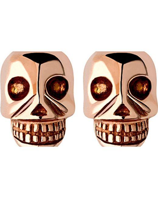 Links of London | Metallic Mini Skull Rose Gold Vermseil Stud Earrings | Lyst