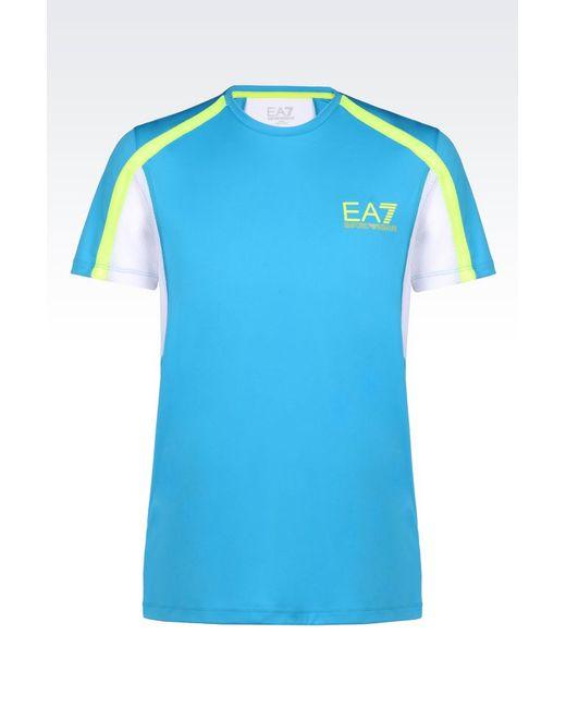 EA7   Blue Short Sleeved T-shirt for Men   Lyst