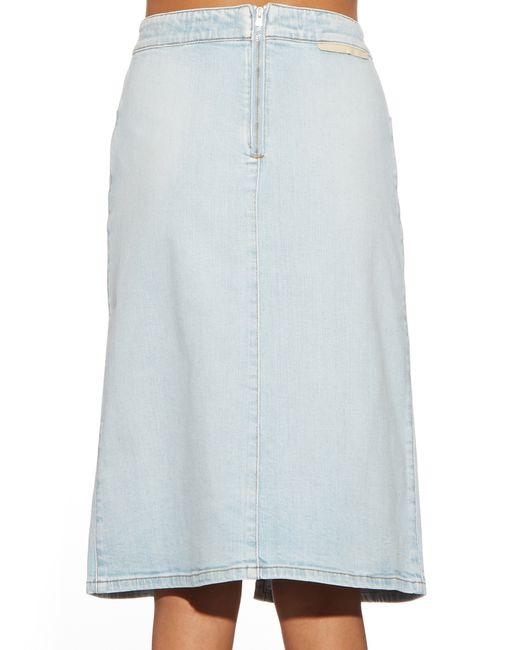stella mccartney janelle embroidered denim skirt in blue