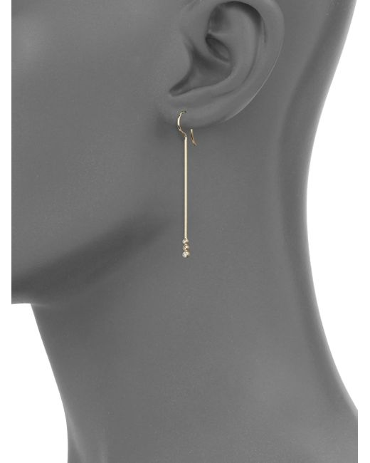 Mizuki | Metallic Diamond & 14k Yellow Gold Short Bar Drop Earrings | Lyst