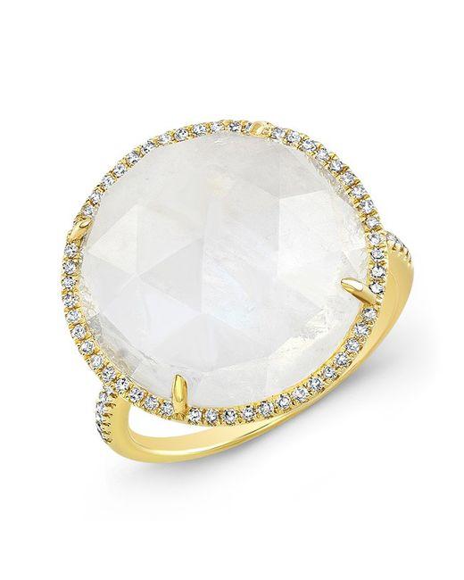Anne Sisteron - Metallic 14kt Yellow Gold Moonstone Diamond Round Cocktail Ring - Lyst