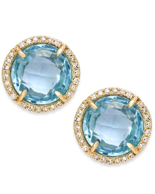 Macy's | Blue Topaz (4 Ct. T.w.) And Diamond Accent Stud Earrings In 14k Gold | Lyst