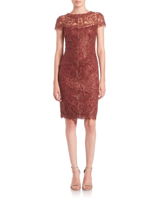 Tadashi Shoji | Brown Cord-embroidered Lace Cocktail Dress | Lyst