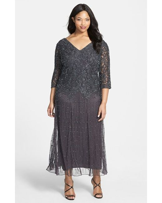 Pisarro Nights | Gray Beaded V-neck Lace Illusion Gown | Lyst