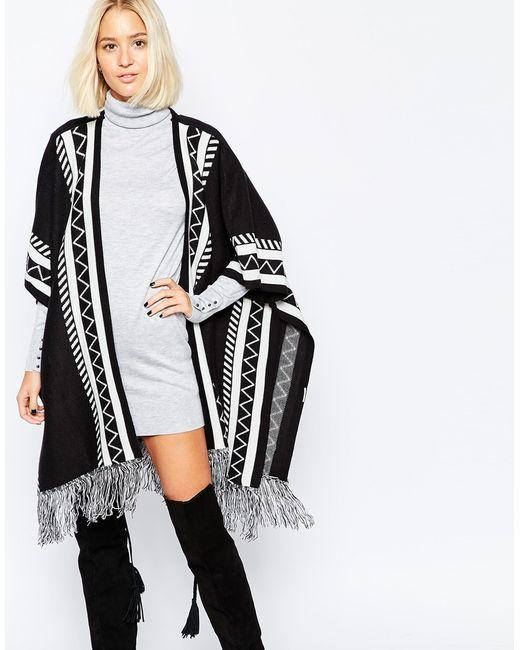 Vero Moda Knitting Patterns : Vero moda knitted poncho in black blackwhite lyst