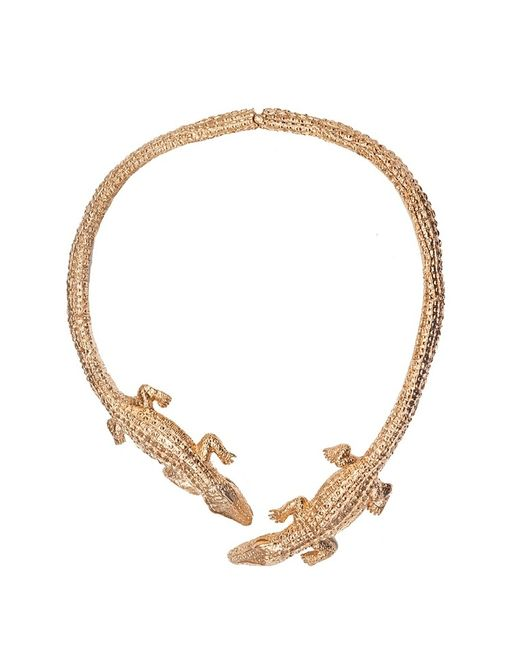 Bernard Delettrez | Metallic Double Crocodile Gold Necklace | Lyst
