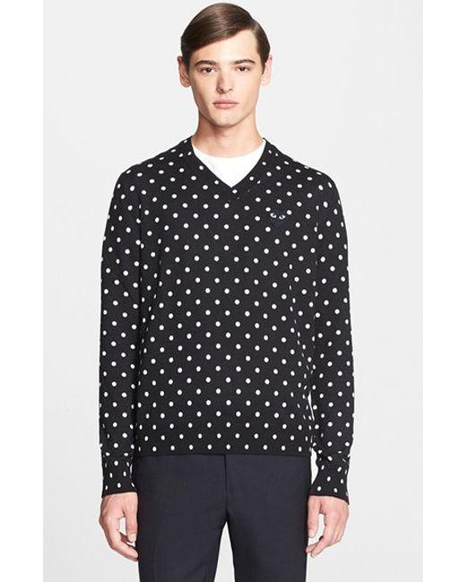 Comme des Garçons | Black Play Dot Pattern V-neck Sweater for Men | Lyst