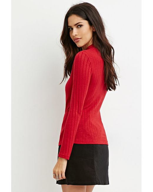 Forever 21   Red Mock Neck Ribbed Top   Lyst