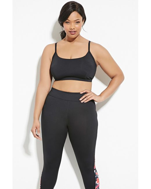 Forever 21 Plus Size Caged Sports Bra in Black