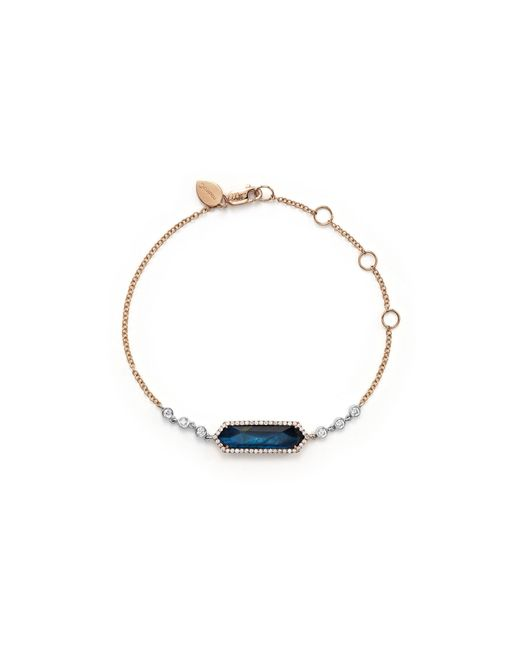 Meira T | 14k Rose Gold, Blue Labradorite And Onyx Bracelet With Diamonds | Lyst