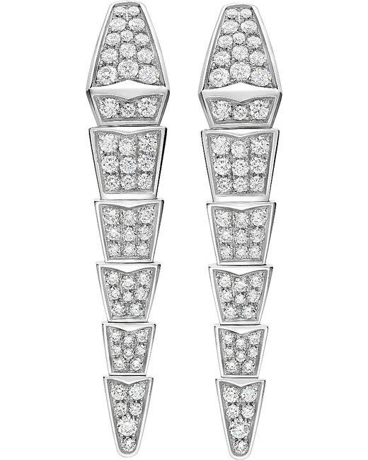BVLGARI | Metallic Serpenti 18ct White-gold Earrings With Full Pavé Diamonds | Lyst
