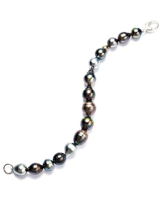 Macy's | Black Pearl Bracelet, Sterling Silver Multicolor Cultured Tahitian Pearl Baroque Bracelet (9-11mm) | Lyst