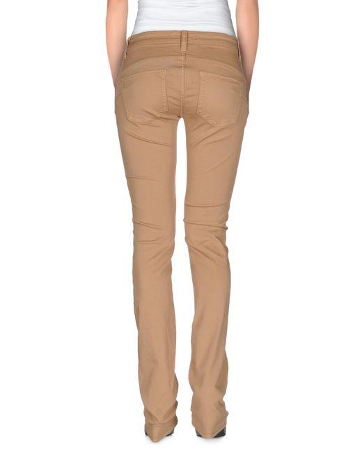 Liu jo Denim Pants in Khaki (Skin color) | Lyst