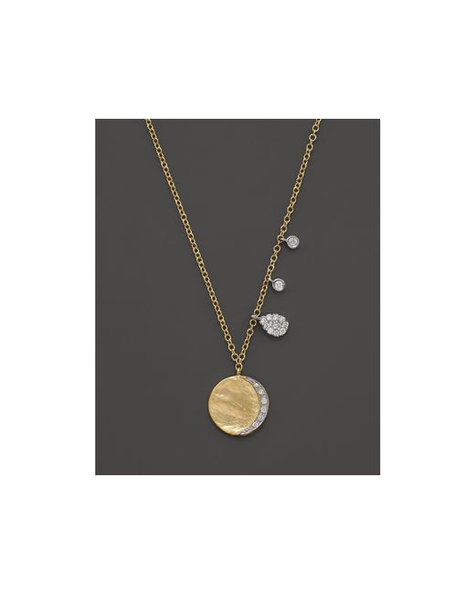 Meira T | Diamond Disc Charm Necklace In 14k Yellow Gold, 16"