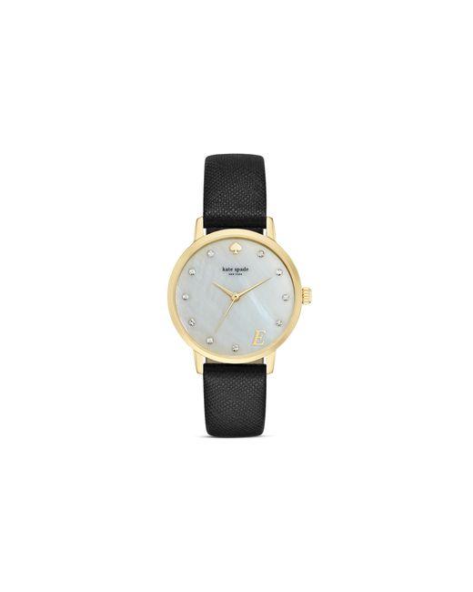 Kate Spade | Black Mother-of-pearl Metro Monogram A Watch, 34mm | Lyst