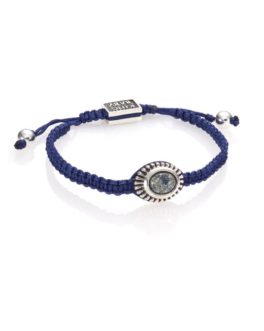 King Baby Studio | Blue Turquoise & Sterling Silver Macramé Slide Bracelet for Men | Lyst
