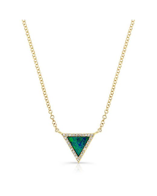 Anne Sisteron | Metallic 14kt Yellow Gold Opal Diamond Triangle Necklace | Lyst
