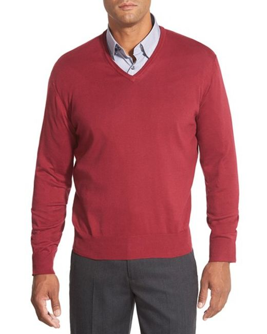 Robert Talbott | Red 'toyon' V-neck Sweater for Men | Lyst