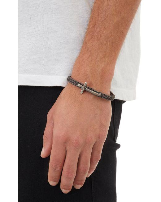Zadeh | Gray Silver Cross  Macramé Cord Bracelet for Men | Lyst
