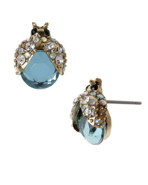 Betsey Johnson | Blue Bug Stud Earrings | Lyst