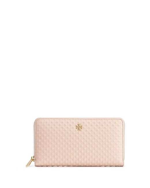 Tory Burch | Natural Marion Embossed Multi-gusset Zip Continental Wallet | Lyst