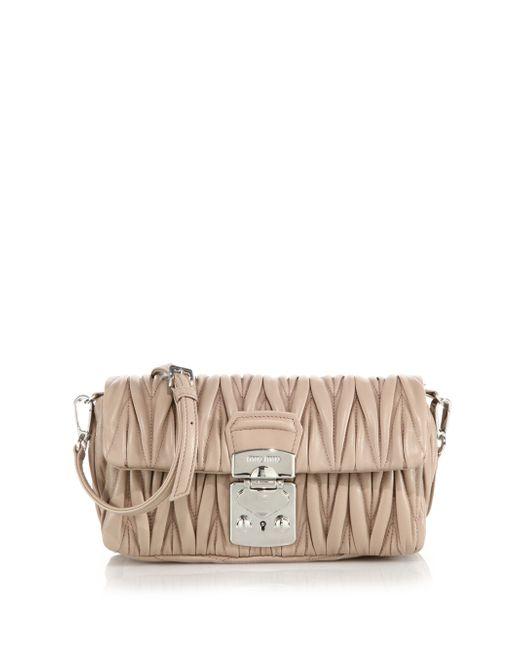 Miu Miu | Pink Matelasse Small Leather Crossbody Bag | Lyst