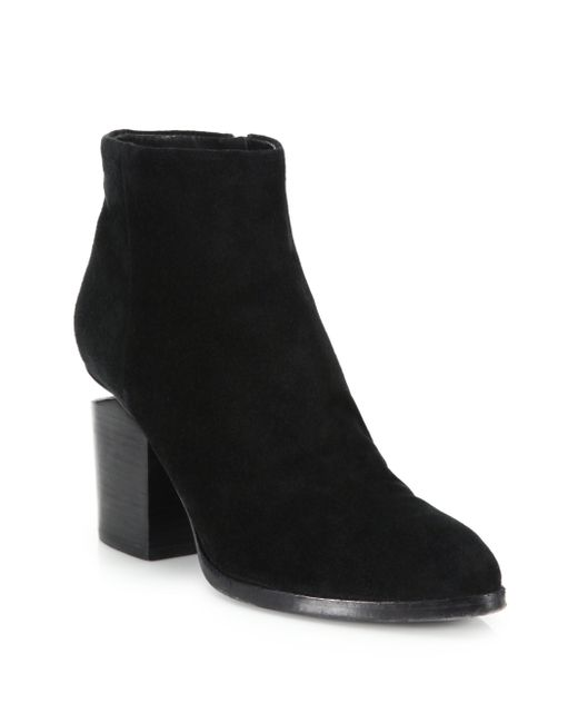 Alexander Wang | Black Gabi Suede Rose Gold-Cutout Ankle Boots | Lyst