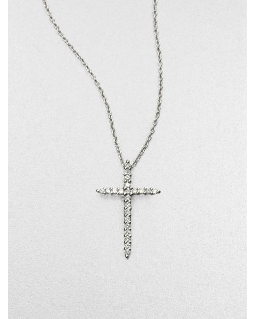 Roberto Coin | Tiny Treasures Diamond & 18k White Gold Cross Pendant Necklace | Lyst