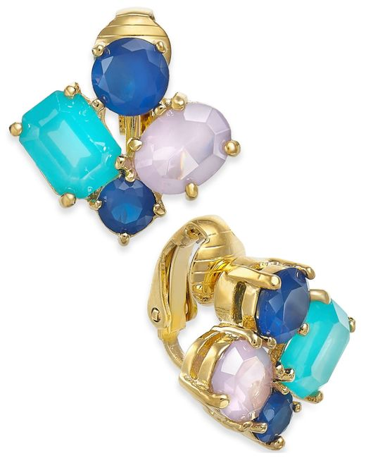 Kate Spade   Blue 14k Gold-plated Multicolor Cluster Clip-on Earrings   Lyst