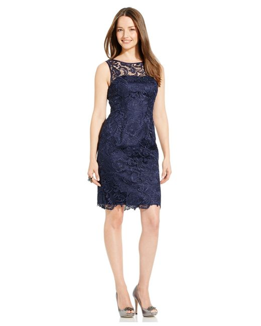 Adrianna Papell | Blue Cut Out Sheath Dress With Hardware | Lyst