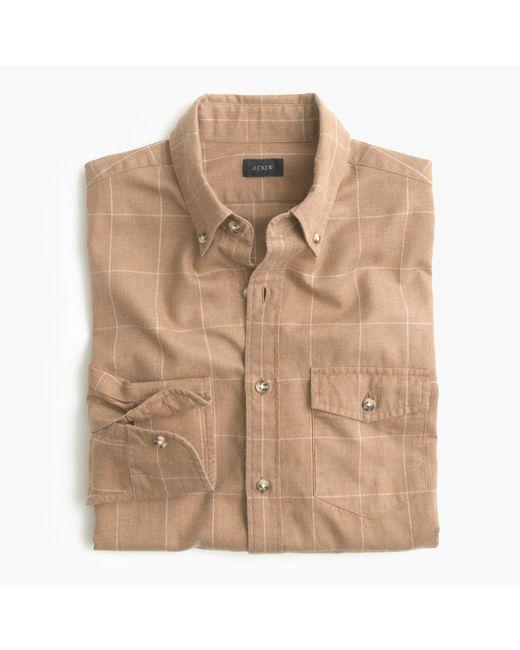 J.Crew | Brown Slim Brushed Twill Shirt In Windowpane for Men | Lyst