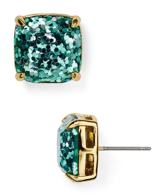 Kate Spade | Blue Gold-tone Small Square Stud Earrings | Lyst