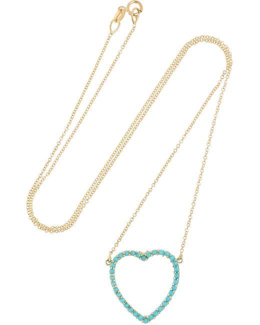Jennifer Meyer | Metallic Open Heart 18-karat Gold Turquoise Necklace | Lyst