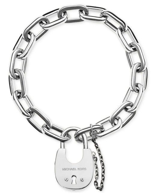 Michael Kors | Metallic Chain Link Padlock Bracelet | Lyst
