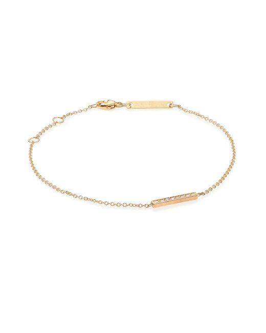 Zoe Chicco | Metallic Diamond & 14k Yellow Gold Pave Bar Bracelet | Lyst