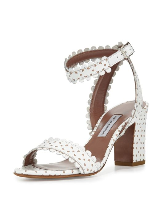 Tabitha Simmons | White Leticia Eyelet Leather City Sandal | Lyst