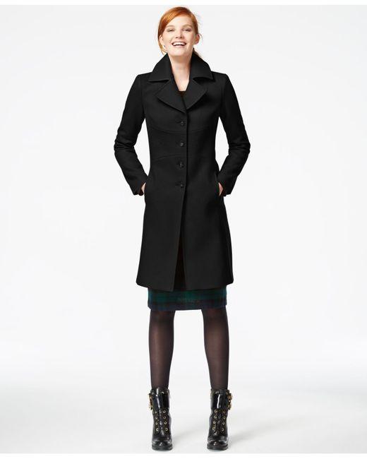 Tommy Hilfiger | Black Topstitched Wool Walker Coat | Lyst
