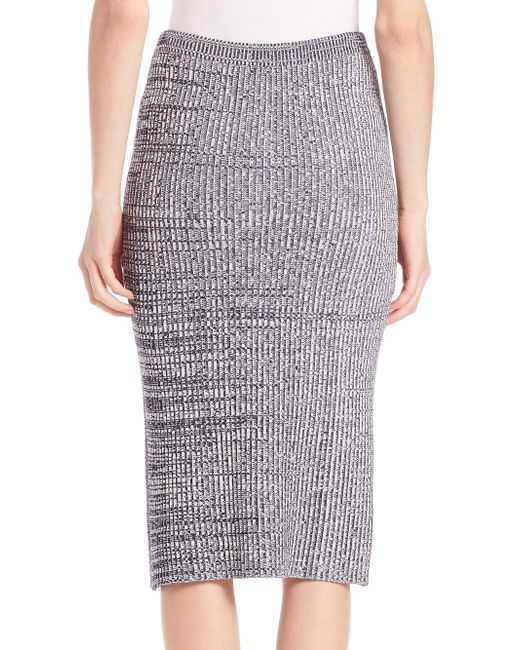 theory nellida knit midi skirt in blue white navy lyst