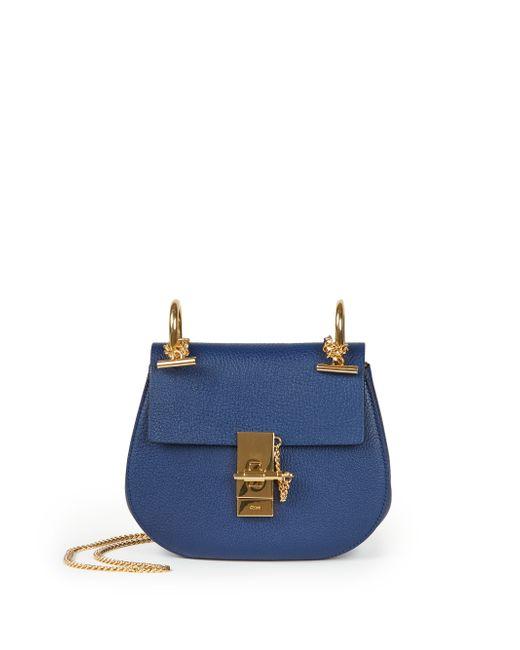 Chloé | Blue Drew Nano Leather Saddle Crossbody Bag | Lyst
