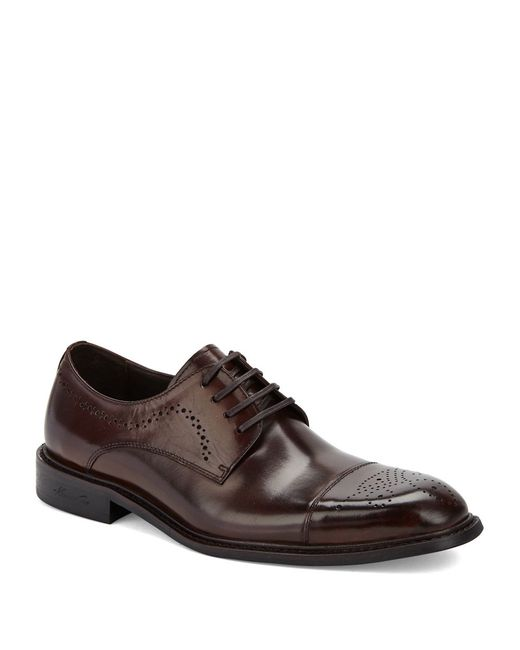 Kenneth Cole | Brown Hustle N Bustle Leather Cap Toe Oxfords for Men | Lyst