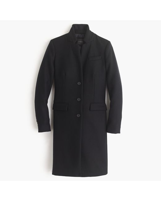 J.Crew | Black Regent Topcoat In Double-serge Wool | Lyst