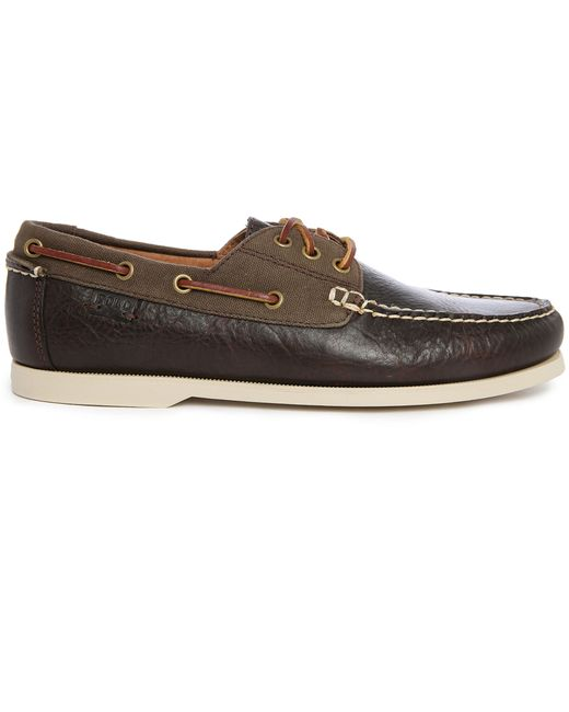 polo ralph bienne ii two tone brown leather canvas