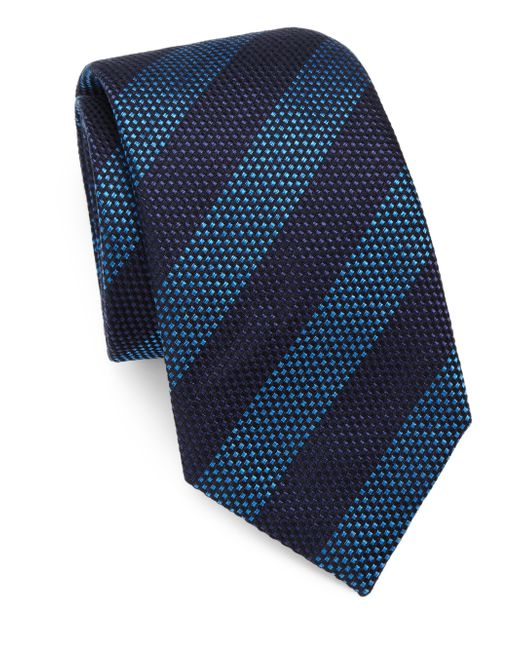 Saks Fifth Avenue | Blue Striped Silk/cotton Tie for Men | Lyst