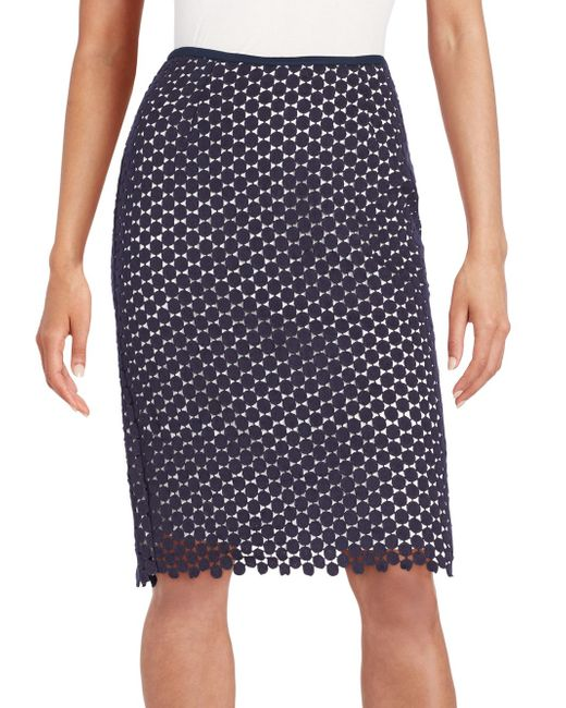 karl lagerfeld circle lace pencil skirt in blue lyst