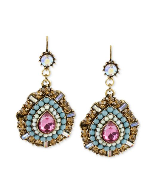 Betsey Johnson | Metallic Gold-tone Multi-color Crystal Teardrop Earrings | Lyst