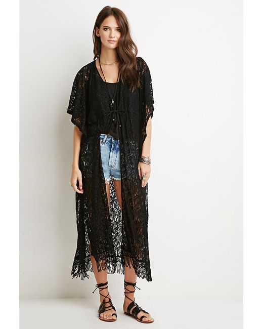 Forever 21 | Black Paisley-patterned Lace Cardigan | Lyst