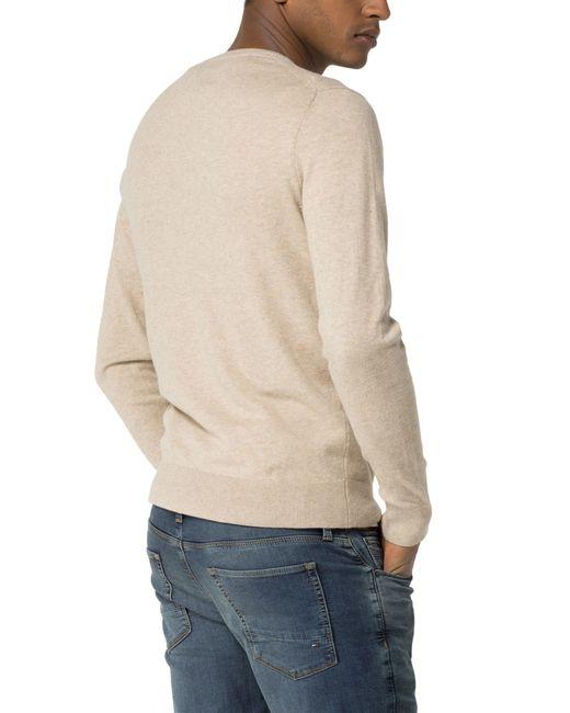 tommy hilfiger cotton linen crew neck jumper in beige for men save. Black Bedroom Furniture Sets. Home Design Ideas