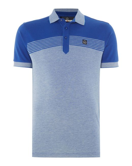 Duck and cover flux polo shirt in blue for men cobalt lyst for Cobalt blue polo shirt