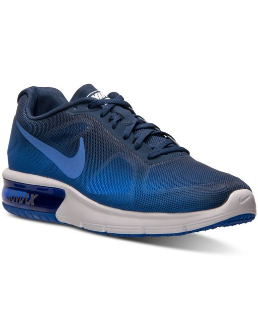 nike men 39 s air max sequent running sneakers from finish line in blue for men racer blue racer. Black Bedroom Furniture Sets. Home Design Ideas
